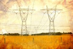 Electricity pylons in country Stock Photography