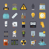 Electricity related flat icons set Stock Photography