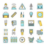 Electricity related flat line icons set Stock Photo