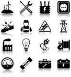 Electricity. Related icons/ silhouettes Royalty Free Stock Photo