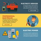 Electricity repair service or professional electrician web banners flat template design. stock illustration