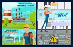 Electricity repairman, power generation plants. Electrician service, house electric repair tools and power plants. Vector energy generation windmills stock illustration
