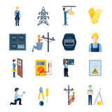 Electricity Repairmen Icons Set Royalty Free Stock Photos