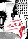 Electricity. Retro grunge poster. Vector illustration. Royalty Free Stock Images