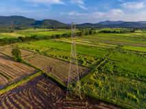 Electricity among Rice Field. Aerial View Stock Photos