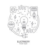 Electricity round concept. Electricity and energy round concept made in modern line style. Household power supply, electronic devices. Can be used for Royalty Free Stock Photo