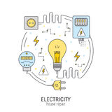 Electricity round concept. Electricity and energy round concept made in modern line style. Household power supply, electronic devices. Can be used for Stock Photo