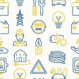 Electricity seamless pattern. With thin line icons: electrician, bulb, pylon, toolbox, cable, electric car, hand, solar battery. Vector illustration for banner Royalty Free Stock Images