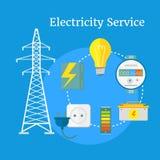 Electricity Service Flat Design Stock Photo