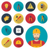 Electricity set icon flat. Icons electric tools, equipments and Royalty Free Stock Photos