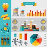 Electricity set of industry power infographic in. Flat style royalty free illustration