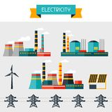 Electricity set of industry power plants in flat Royalty Free Stock Photos