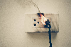 Electricity short circuit. / Electrical failure resulting in electricity wire burnt Stock Photography