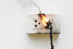 Electricity short circuit. / Electrical failure resulting in electricity wire burnt Stock Image