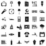 Electricity signal icons set, simple style. Electricity signal icons set. Simple style of 36 electricity signal vector icons for web isolated on white background Royalty Free Stock Photo
