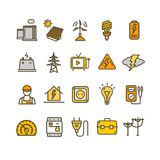 Electricity Signs Color Thin Line Icon Set. Vector. Electricity Signs Color Thin Line Icon Set Include of Home, Man, Pipe, Voltmeter and Socket. Vector royalty free illustration