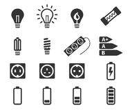 Electricity simply icons Stock Photos