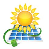 Electricity from solar panels. Electricity from solar energy and solar panels Stock Image