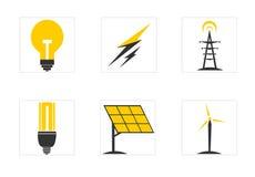 Electricity flat icon set Royalty Free Stock Photos