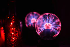 Electricity static fire-ball. Electricity fire-ball. Abstract photo of electric waves. Static electricity Royalty Free Stock Photography