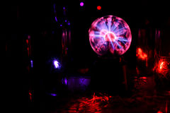 Electricity static fire-ball. Electricity fire-ball. Abstract photo of electric waves. Static electricity Royalty Free Stock Photo