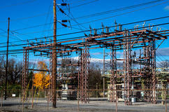 Electricity. Station beneath blue sky in autumn Royalty Free Stock Images