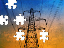 Electricity supply puzzle Royalty Free Stock Image