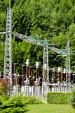 Electricity supply station setup. Power station supply at a hydroelectric plant Royalty Free Stock Images