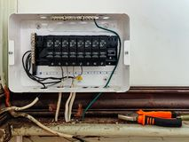 Electricity switch circuit breaker control center box with wires connection. Assembling electricity switch circuit breaker control center box with wires royalty free stock photos
