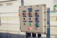 Electricity switch power control box. In electrical power plant stock photography