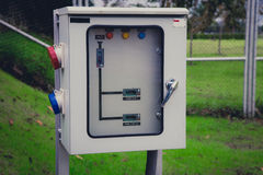 Electricity switch power control box. At electrical power plant stock photography