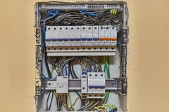 Electricity switches and wiring Stock Photo