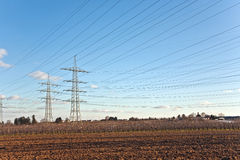 Electricity tower in beautiful landscape Stock Photos