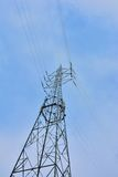 Electricity tower carrier of high voltage cables Royalty Free Stock Photos