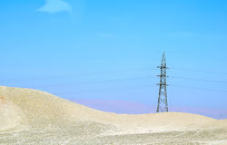 Electricity tower in desert of Egypt Royalty Free Stock Photos