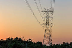 Electricity tower and electric line Stock Photos