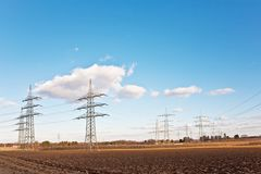 Electricity tower for energy with sky Royalty Free Stock Photography
