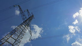 Electricity tower with high voltage metal with wires against the sky with clouds stock video
