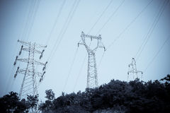 Electricity tower and line Royalty Free Stock Photography