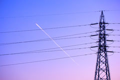 Electricity tower and lines at sunset, Japan Stock Photography