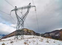 Electricity tower on mountain Stock Image
