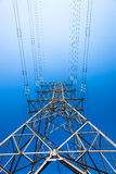 Electricity Tower Steel Blue Upward Stock Photos