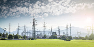 Electricity tower. S and high voltage lines in a nice landscape Royalty Free Stock Images