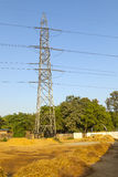 Electricity tower under blue clear sky Royalty Free Stock Images