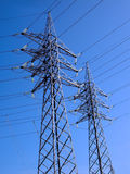 Electricity Towers. Electrical utility company distribution lines Stock Photo