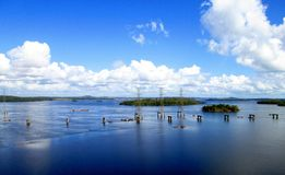 Electricity Towers on Caroni river Royalty Free Stock Photos