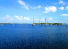 Electricity Towers on Caroni river Stock Photos
