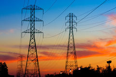 Electricity Towers Sunset Royalty Free Stock Image