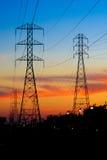 Electricity Towers Sunset Stock Photos
