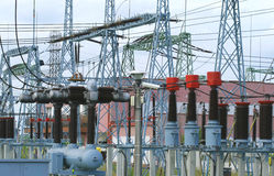 Electricity transformation station. Power plant transformation station. Electricity generation industry royalty free stock image